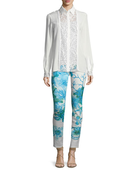 Skinny-Leg Coral-Reef Printed Stretch-Denim Ankle Jeans