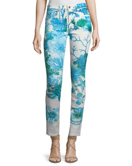 Skinny-Leg Coral-Reef Printed Stretch-Denim Ankle Jeans