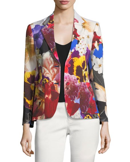 Floral-Print Single-Breasted Blazer
