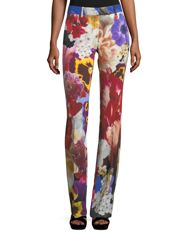 4674405a2eb10 Roberto Cavalli Floral-Print Mid-Rise Flared Pants | Neiman Marcus