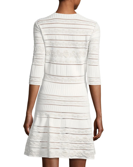 Round-Neck 3/4-Sleeve Fit-and-Flare Knit Dress