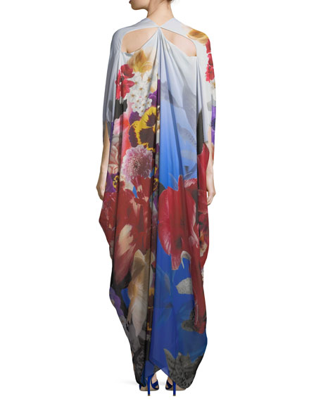 Plunging Floral-Print Chiffon Caftan Gown