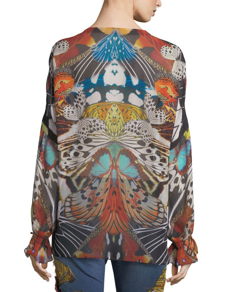 Long-Sleeve Butterfly-Print Silk Blouse