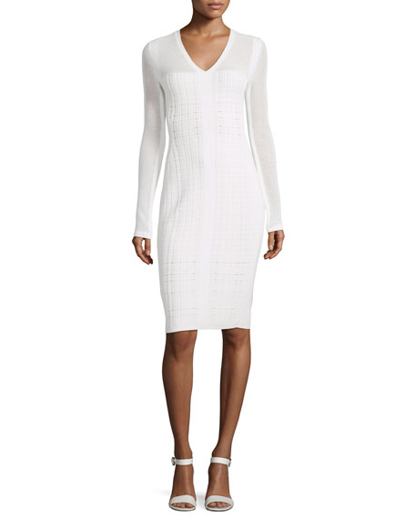 Narciso Rodriguez Narciso Rodriquez Long-Sleeve V-Neck Grid Dress