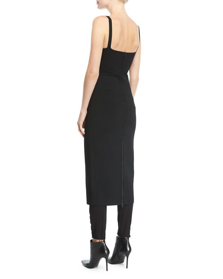 Knit Tank-Top Low-Back Sheath Dress