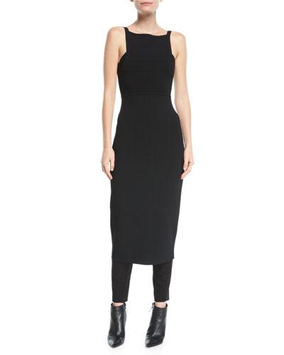 Knit Tank-Top Low-Back Sheath Dress