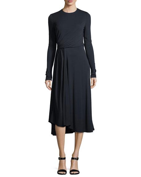Long-Sleeve Shirred Midi Dress