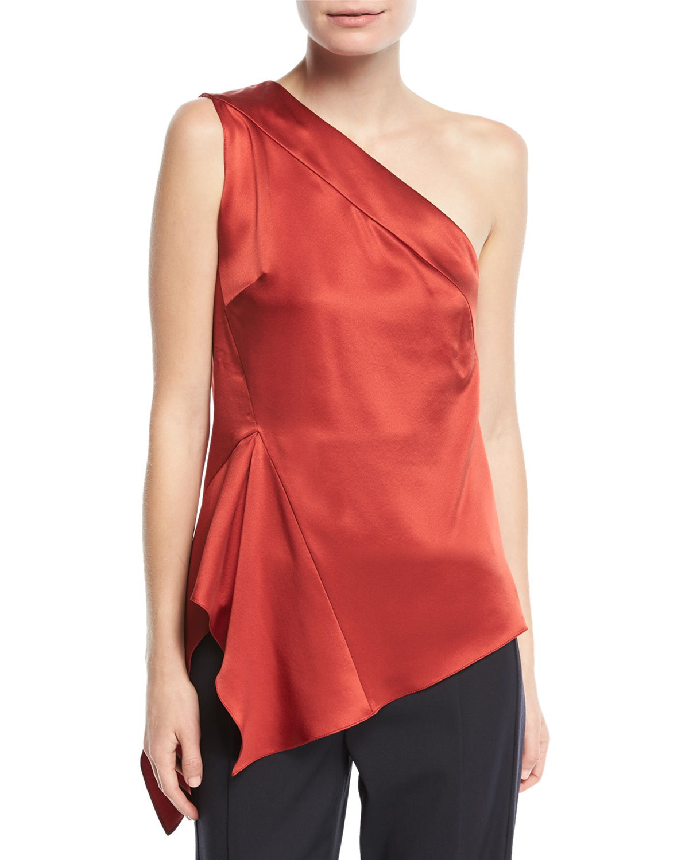 bb83cda2ed2b0 Narciso Rodriguez One-Shoulder Handkerchief-Hem Silk Top