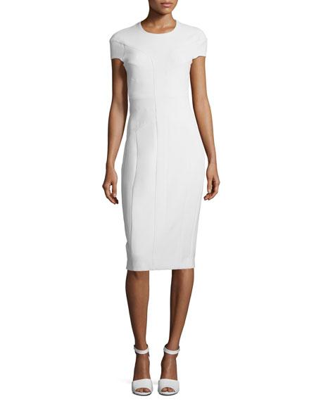Cap-Sleeve Horizontal Seamed Scuba Sheath Dress