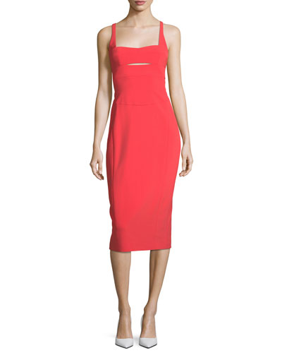 Square-Neck Bodice-Slice Sheath Scuba Dress