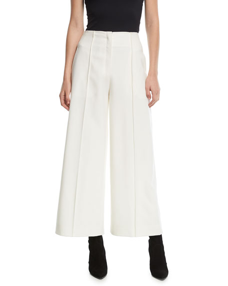 Narciso Rodriguez Seamed Wide-Legs Cropped Pants and Matching