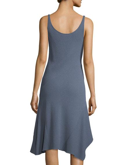 Sleeveless Cowl-Neck Seamed Handkerchief Dress