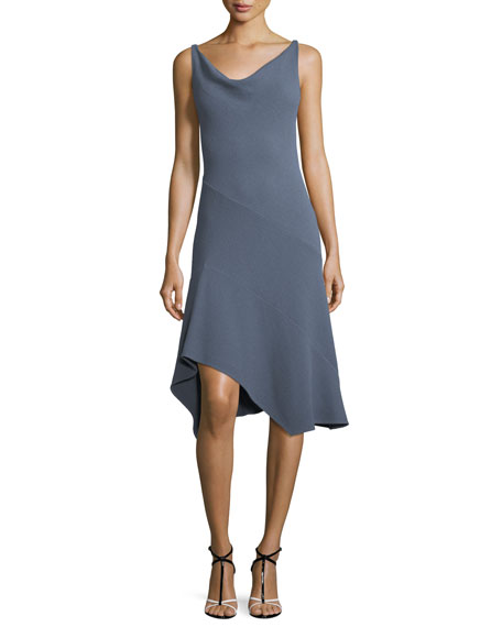 Sleeveless Cowl-Neck Seamed Handkerchief Dress