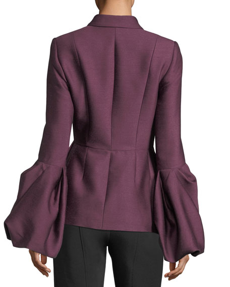 Notch-Collar One-Button Pouf-Cuff Wool-Silk Jacket