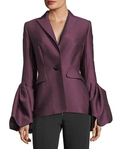 Notch-Collar One-Button Pouf-Cuff Wool-Silk Jacket