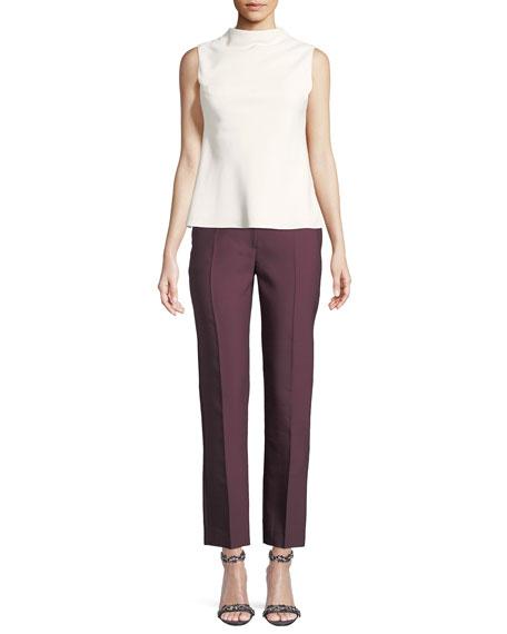 High-Rise Straight-Leg Wool/Silk Pants