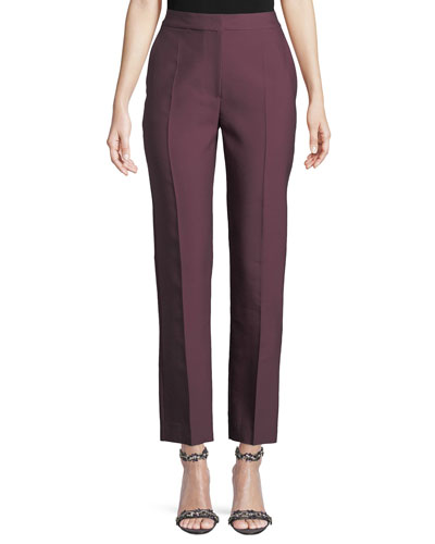 High-Rise Straight-Leg Wool/Silk Pants