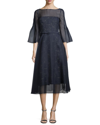 Bell-Sleeve Organza Overlay Lace Midi Cocktail Dress