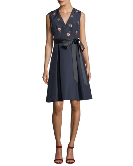 Carolina Herrera Cherry Embroidered V-Neck Fit-and-Flare Cocktail