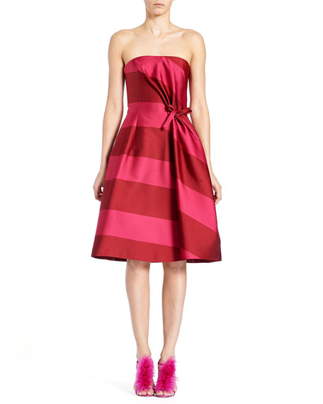 Carolina Herrera Strapless Wide-Stripe Cocktail Dress