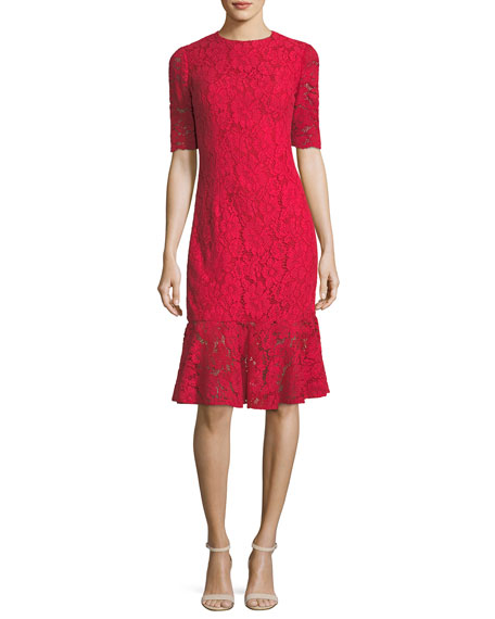Carolina Herrera Elbow-Sleeve Lace Flared-Hem Cocktail Dress