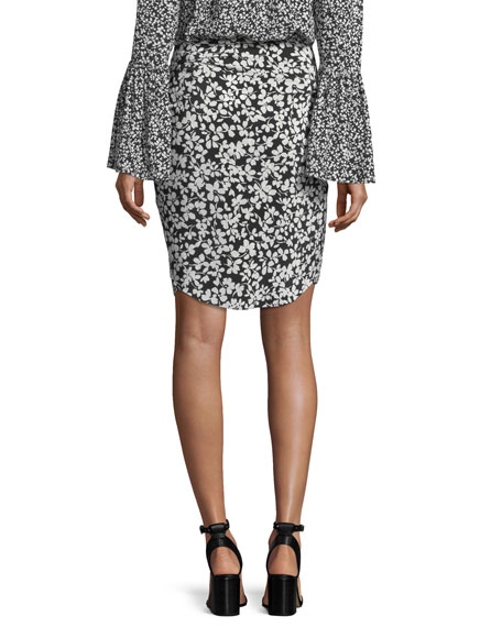 Floral-Print Crepe de Chine Silk Pareo Skirt