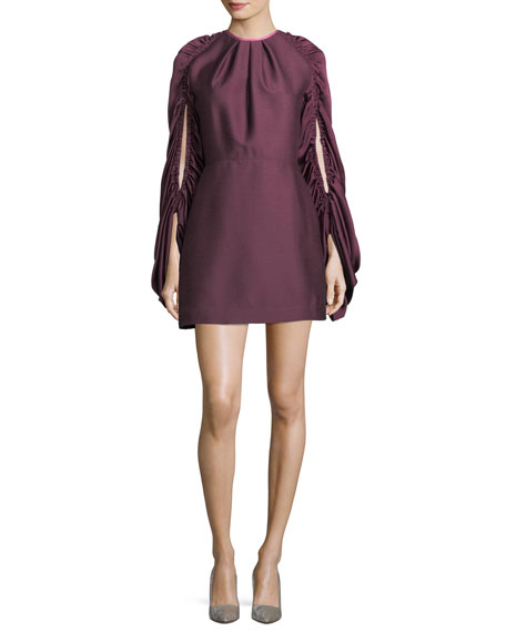 ROKSANDA Short Drawstring-Sleeve Dress