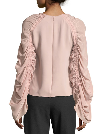 Round-Neck Ruched-Sleeve Silk Top