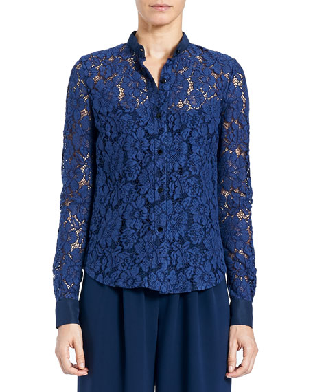 Floral-Lace Button-Front Blouse