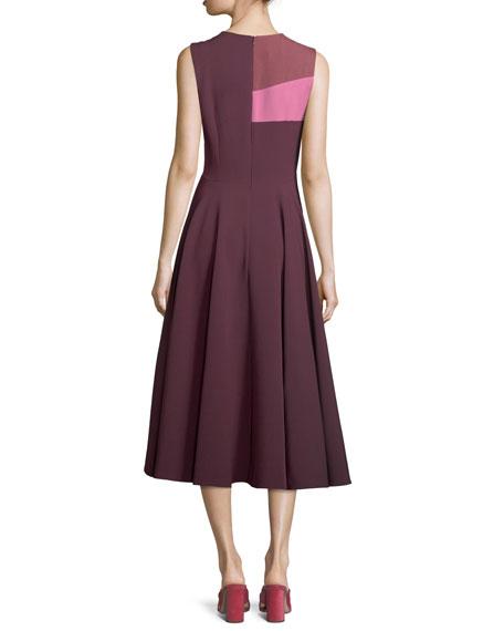 Colorblock Full-Skirt Midi Dress
