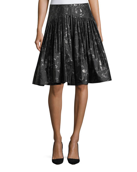 Carolina Herrera Jacquard Metallic Pleated Party Skirt and
