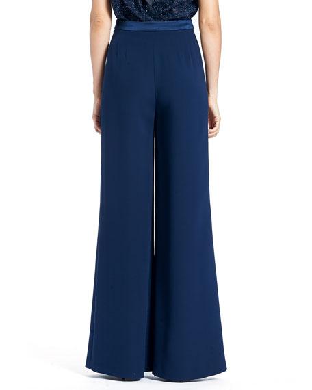 Wide-Leg Double-Face Georgette Silk Pants