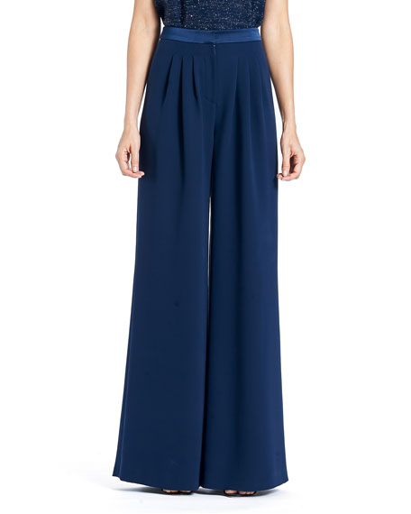 Carolina Herrera Wide-Leg Double-Face Georgette Silk Pants