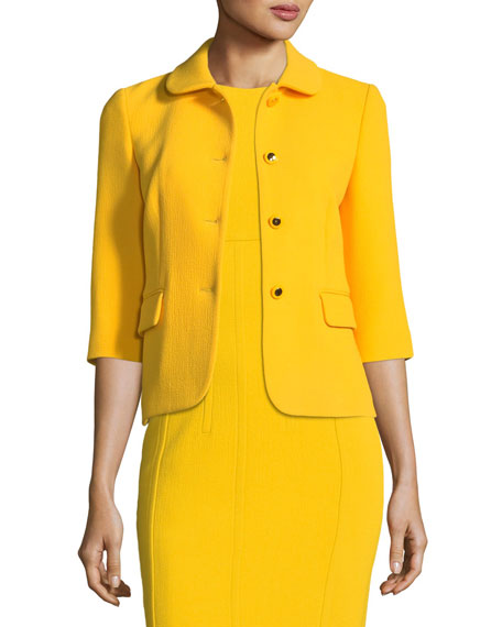 Michael Kors Collection Spread-Collar Button-Front Stretch-Boucle