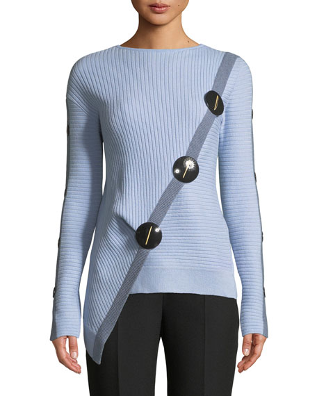 ROKSANDA Long-Sleeve Wool-Cashmere Sweater with Asymmetric Button