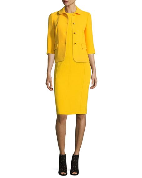 Sleeveless Crewneck Stretch-Boucle Sheath Dress