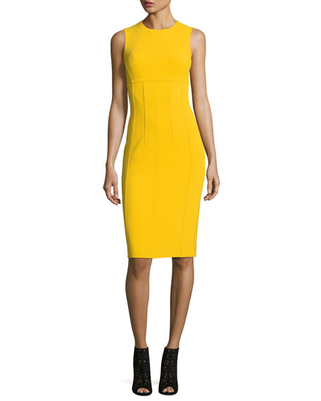 Sleeveless Crewneck Stretch-Boucle Sheath Dress