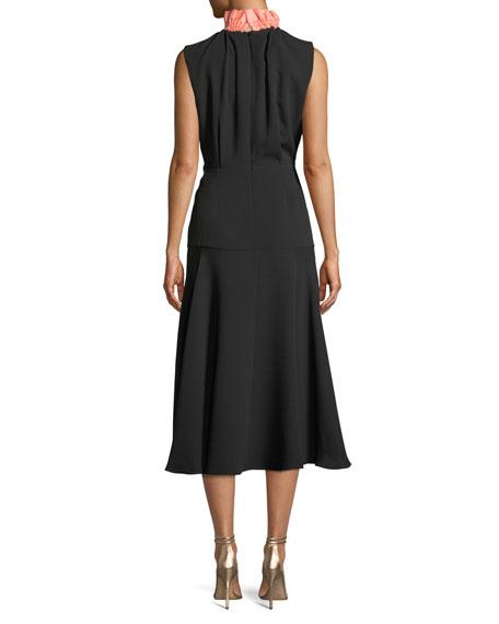 Sleeveless Mock-Neck A-Line Silk Calf-Length Dress
