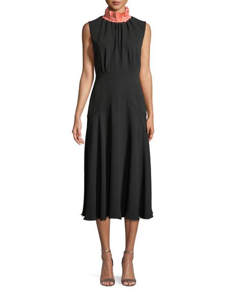 ROKSANDA Sleeveless Mock-Neck A-Line Silk Calf-Length Dress