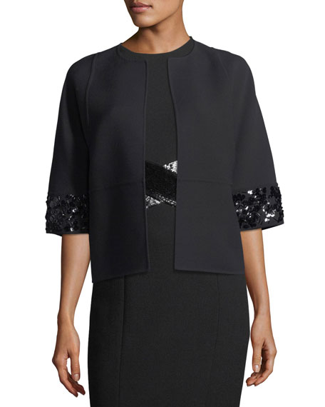 Open-Front Elbow-Sleeve Crepe Wool Jacket w/ Sequin Trim