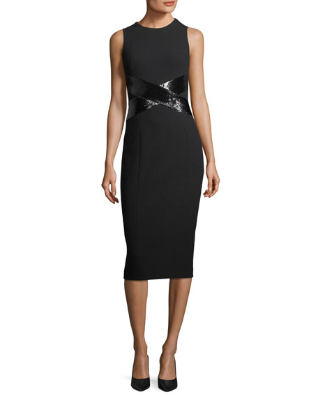 Michael Kors Collection X-Paillette Sleeveless Sheath