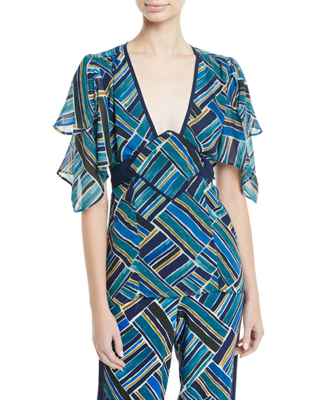 TALITHA Shani Painted Jasmin Graphic-Print Silk Top in Blue Multi