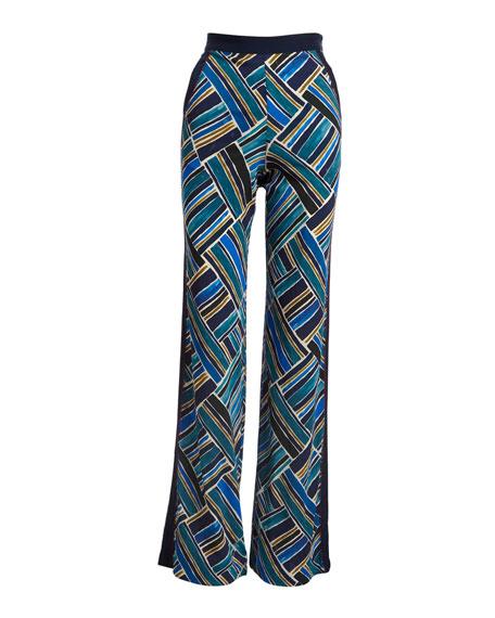 Painted-Print Wide-Leg Pull-On Pants