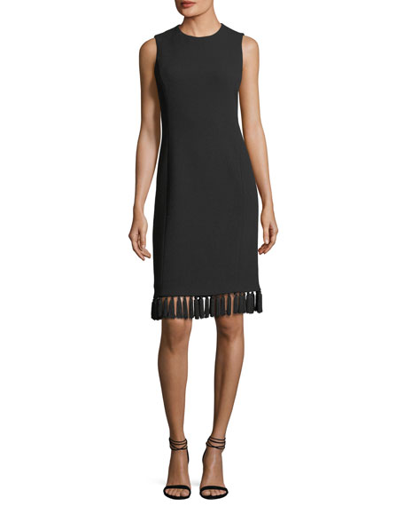 Tassel-Trim Sleeveless Shift Dress