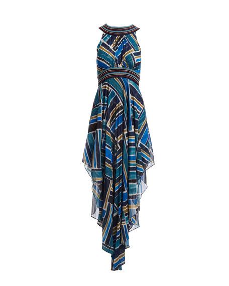 Sleeveless Halter Painted-Print Dress with Handkerchief Hem