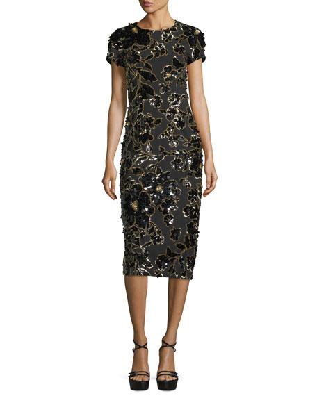Embroidered Crewneck Sheath Dress