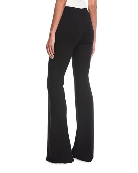 Flare-Leg Pebble Crepe Trousers