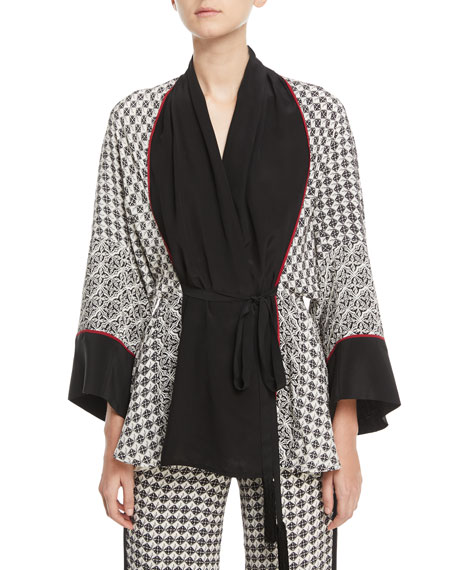Talitha SILK SCARF-PRINT SHORT BELTED ROBE