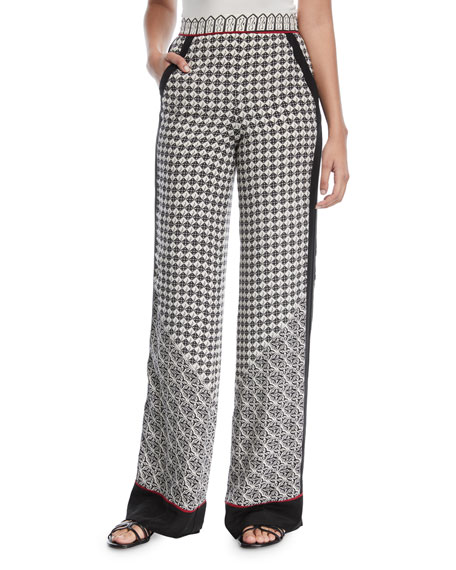Scarf-Print Wide-Leg Silk Pants