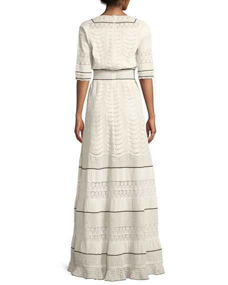 Elbow-Sleeve Eyelet Lace-Inset A-Line Long Dress